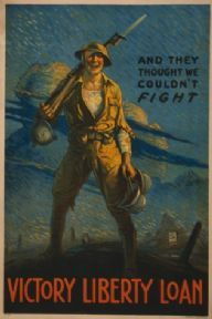"Vintage Liberty Loan Poster ""And they thought we couldn't fight"""